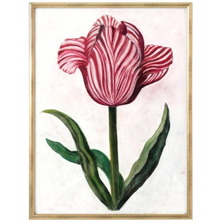 Pink Flower Pastel on Paper by Marianne Stikas
