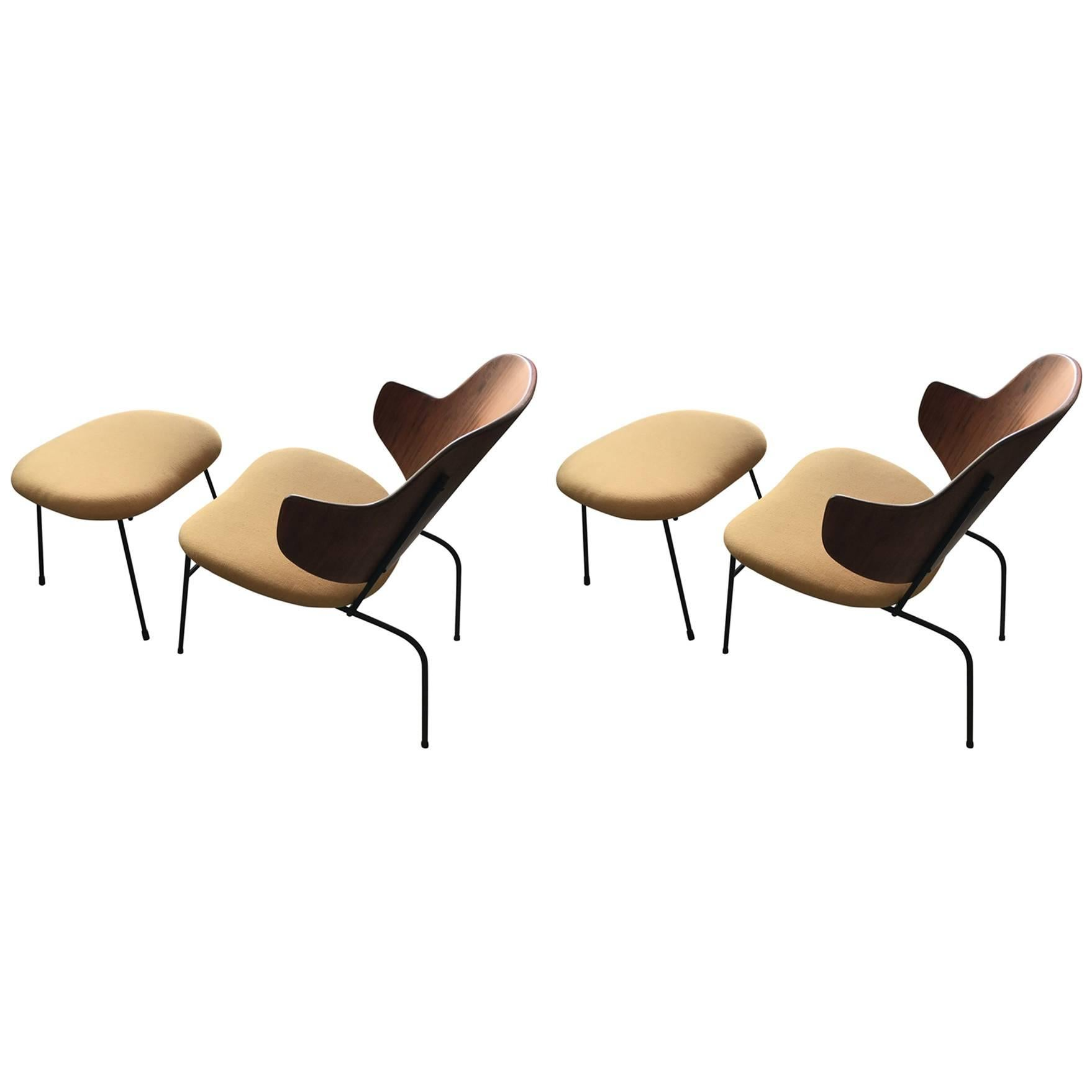 """Pair of Kofod Larsen Lounge """"Penguin"""" Chairs with Ottomans"""