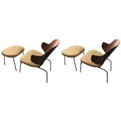 "Pair of Kofod Larsen Lounge ""Penguin"" Chairs with Ottomans"