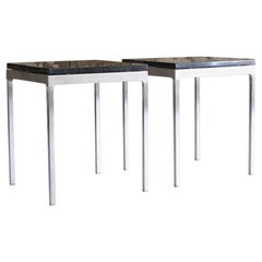 Pair of Rare Nico Zagraphos Granite and Stainless Steel Side Tables