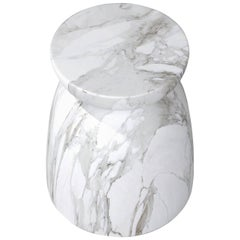 Japan Table, Contemporary Marble Side Table or Stool in White Carrara