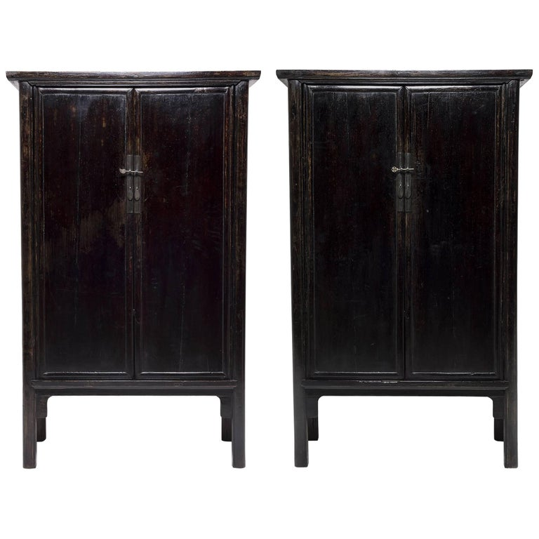 Pair of 19th Century Chinese Black Lacquered Noodle Cabinets For Sale