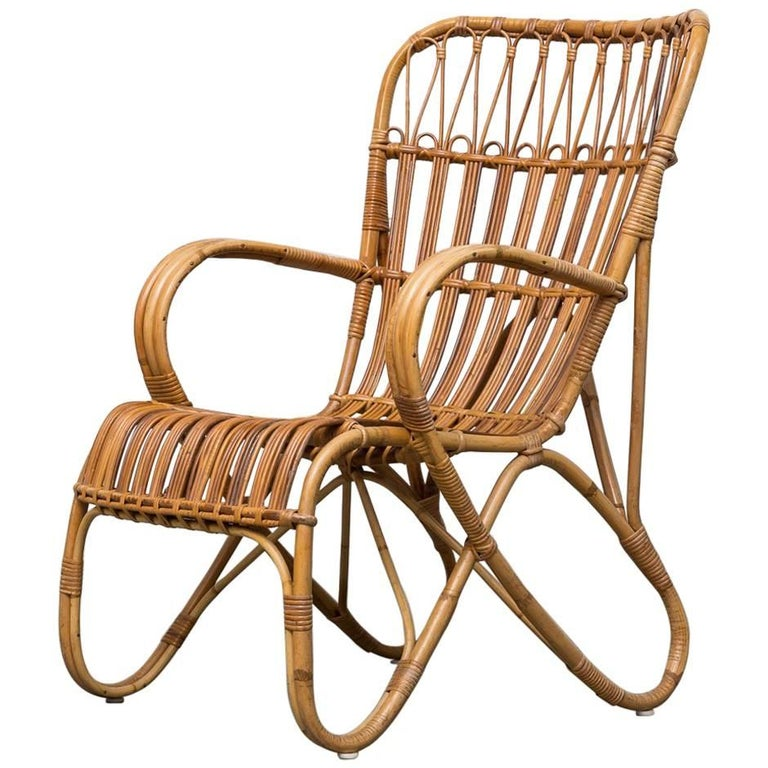High Back Bamboo Armchair For Sale