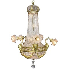 French 19th-20th Century Louis XVI Style Gilt-Bronze and Beaded Glass Chandelier