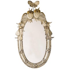 Handmade Oval Gilded Italian, Silvered Metal Mirror, Owls and Fruits, 1950