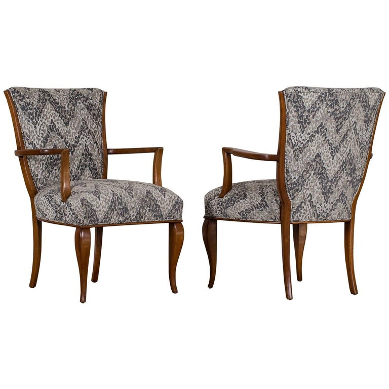 Pair of Vintage French Art Deco Beechwood Chairs, circa 1940