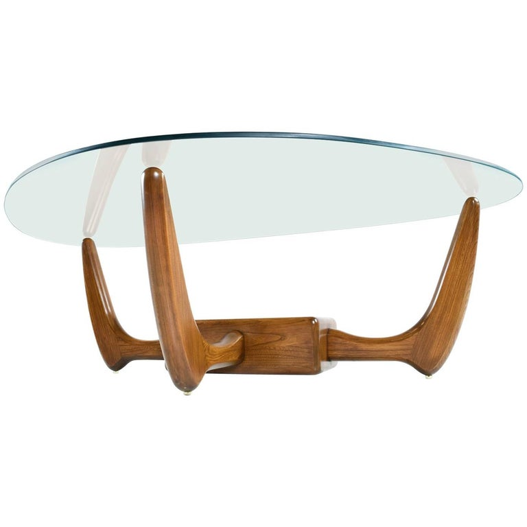 Adrian Pearsall Style Glass Top Solid Oak Base Coffee Table with Planter