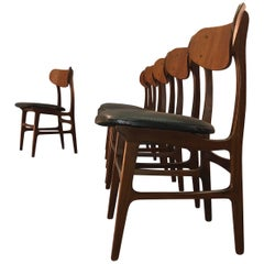 Danish Teak Round Back Dining Chairs Attributed to Johannes Anderson, Set of Six