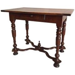 19th Century Walnut Louis XIV Table with One Drawer