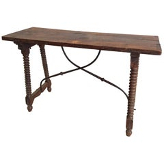 Spanish Table with Bobbin Legs and Iron Stretcher, 1900s