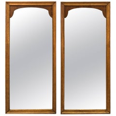 1960s Pecan Wood Wall Mirrors, Pair
