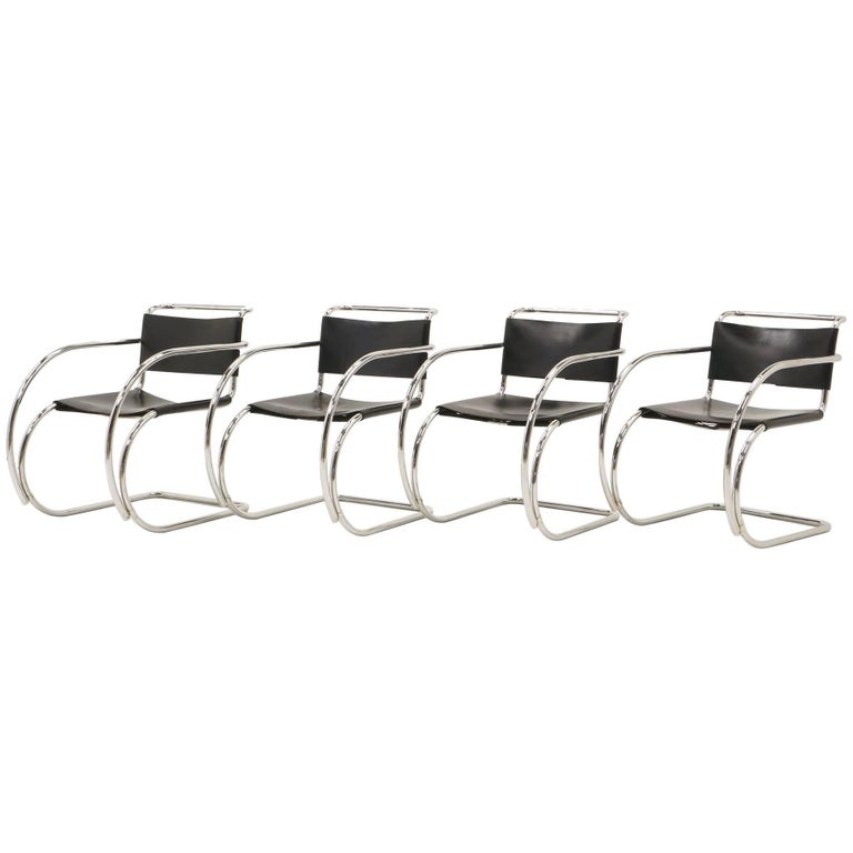 Set of Four Black Leather MR 20 Lounge Chairs with Arms by Mies van der Rohe