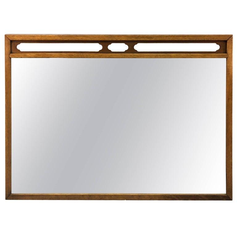 Drexel Compass Pecan Wood Wall Mirror