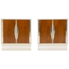 Milo Baughman Nightstands, Pair, White Lacquer and Rosewood with Chrome Accents