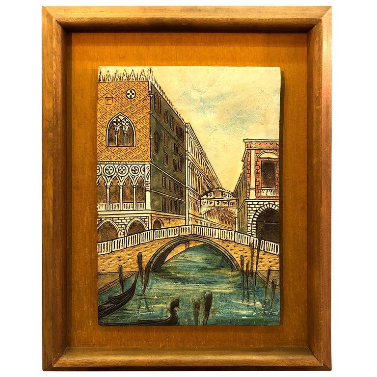 Mid-20th Century Italian Scene Tile Framed Wall Plaque