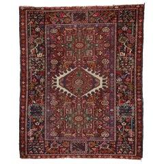 Antique Persian Karaja Heriz Rug with Mid-Century Modern Style, Accent Rug