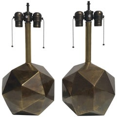 Pair of Westwood Geometric Faceted Lamps