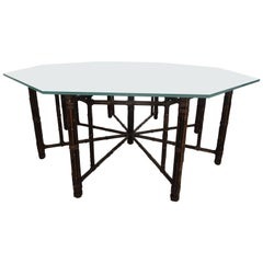 McGuire Octagonal Bamboo and Rattan Dining Table