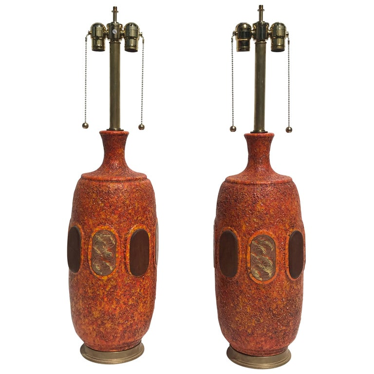 Pair of Orange Lava Glazed Ceramic Lamps For Sale