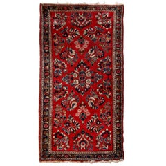 Red Sarouk Area Rug of Small Size with Floral Design