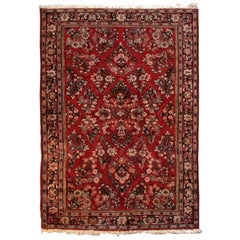 Small Red Background Persian Sarouk Carpet with Overall Foliate Design