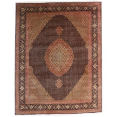 Vintage Persian Mahi Fish Design Tabriz Rug with Traditional Style