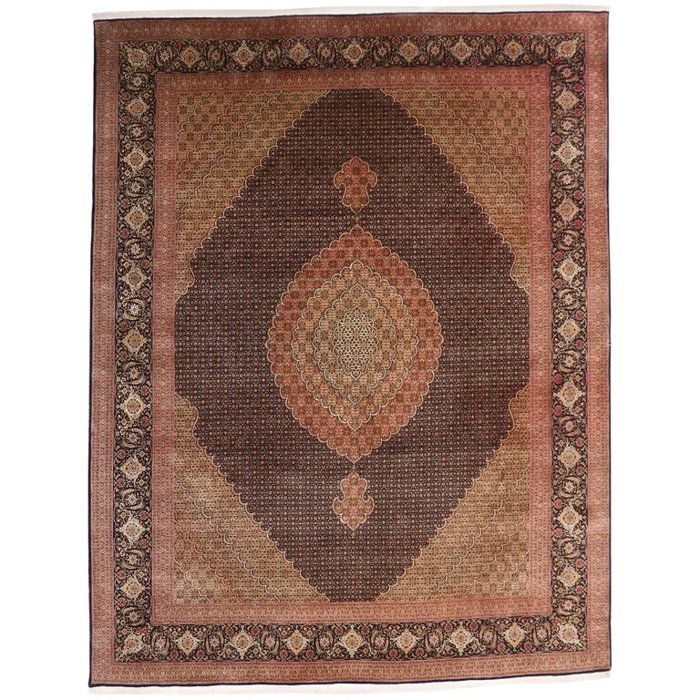Vintage Persian Mahi Fish Design Tabriz Rug With Traditional Style For