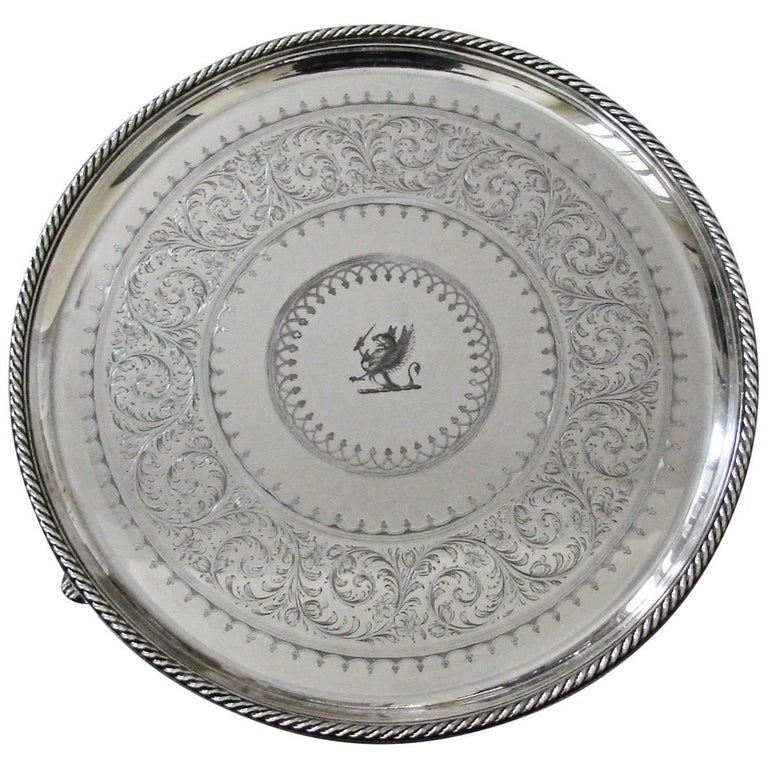 Elkington & Company Engine-Turned Silver-plate Tray Made in 1849 For Sale