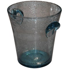 Blue Glass Wine or Champagne Bucket Signed by Biot