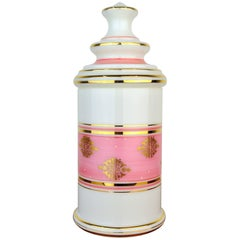 Tall Baccarat Pink, White and Gilt Opaline Glass Vanity Jar