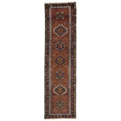 Antique Persian Heriz Runner with Tribal Style, Hallway Runner