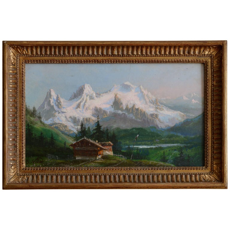 """Oil on Canvas Signed Benjamin Netter """"Chalet in the Mountain"""""""