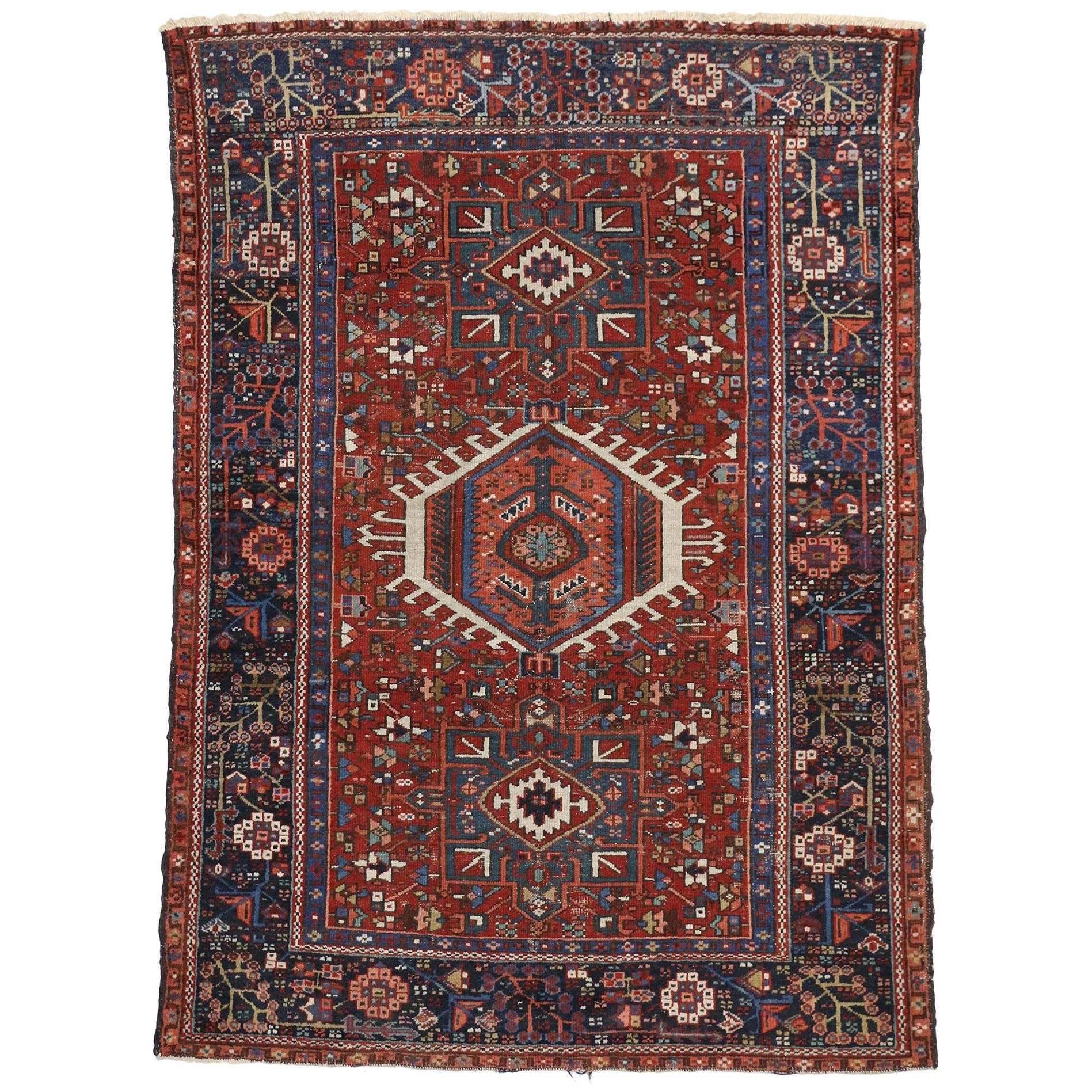 Antique Persian Heriz Rug With Tribal Style, Study Or Home Office Rug