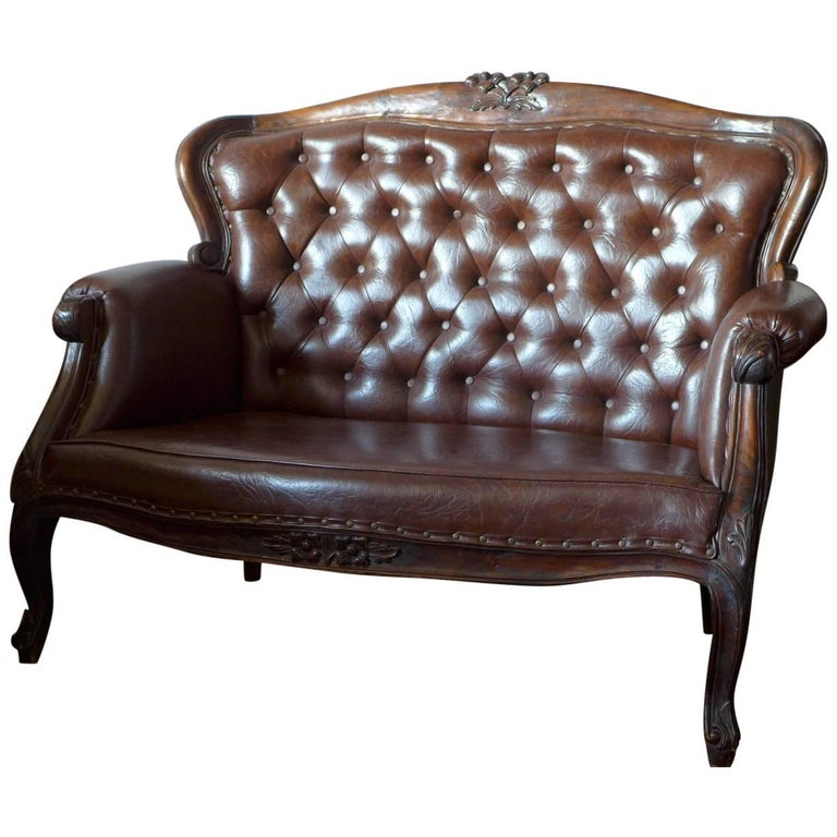 19th Century Victorian Carved Rosewood Settee