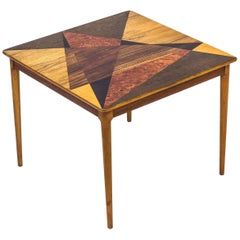 Swedish 1950s Table with Geometrical Marquetry by SMF