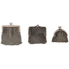 Three Small Ladies Silver Purses, circa 1900, Knitted Bag