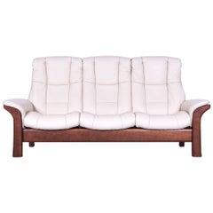 Ekornes Stressless Relax Sofa Crème Leather TV Recliner Three-Seat
