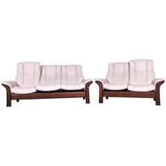Ekornes Stressless Relax Sofa Set Crème Leather TV Recliner Two and Three-Seat