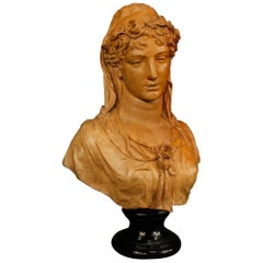 Antique Belgian Terracotta Sculpture Woman Bust Signed Dated A. Desenfans, 1870