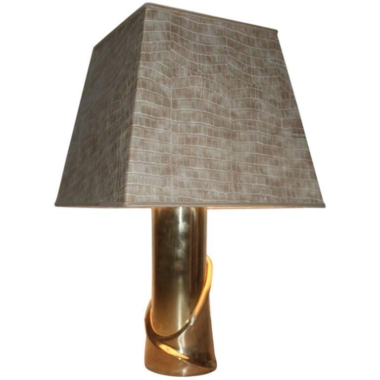 Table Lamp Luciano Frigerio 1970s Scultura Brass Italian Design For Sale