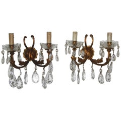 Pair of Elegant and Particular Sconces Bronze and Crystal, 1950s