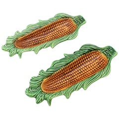 Pair of Portuguese Mid-Century Modern Glazed Ceramic Corn on the Cob Dishes