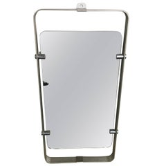Italian Stainless Steel Framed Floating Mirror from 1970s