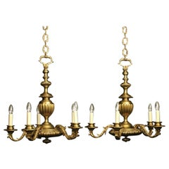 English Pair of Gilded Bronze Faraday & Son Antique Chandeliers