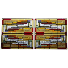 First Half of the 20th Century Dutch Stained Glass Four-Panel Window