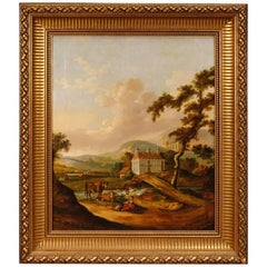 Dutch Painting Landscape with Characters and Architectures Oil on Canvas