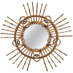 Unusual French, 1950s Tiki Style Rattan and Bamboo Wall Sunburst Mirror