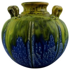 Gilbert Metenier, French Ceramist, Art Deco Vase with Handles in Blue and Green