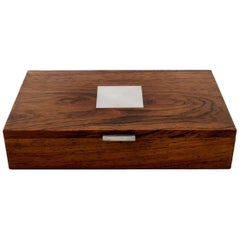 Hans Hansen, Casket or Box in Rosewood Inlaid with Silver, Mid-20th Century