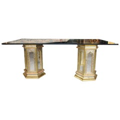 1980s Spanish Handcrafted Brass and Mirror Glass Table